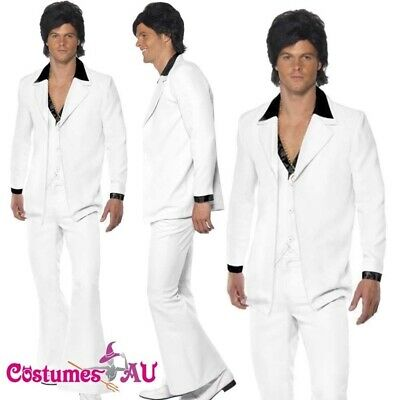 Mens 70s White Costume Saturday Night Fever 1970s Retro Disco Suit Groovy Dancer