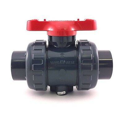 "Asahi Type 21 Ball Valve 2"" True Union (PVC/EPDM) Inline, Manual, 1601-020"