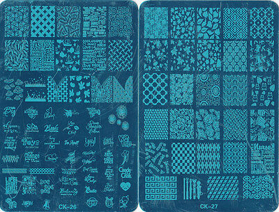 XL Large Stamping Nail Plate Mix 4PCS CK24-CK27 Nail Plate  5.7*3.7Inch Template