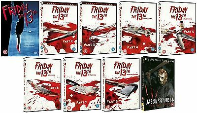 FRIDAY THE 13TH 1-9 Complete Movie Collection Part 1 2 3 4 5 6 7 8 9 New UK DVD