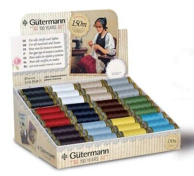 50% EXTRA FREE Gutermann 100+50m Sew All Polyester Sewing Thread Hand or Machine