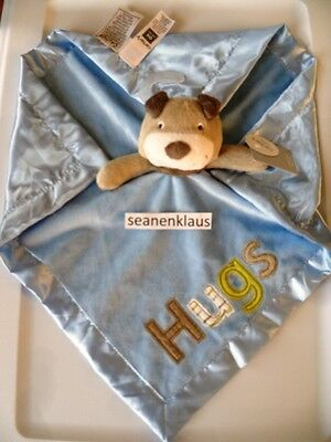 NWT Carter's Brown Puppy Dog Blue Hugs Cuddle Security Blanket Lovey Rattle