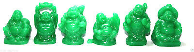 Set of 6 JADE GREEN COLOR Feng Shui Laughing HAPPY Buddha Figures & Statue Luck