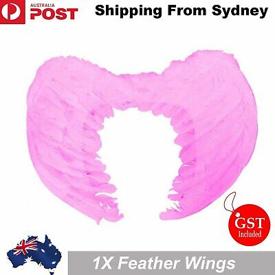 Pink Feather Wings Angel Fairy Adults Kids Fancy Dress Costume Halloween Party