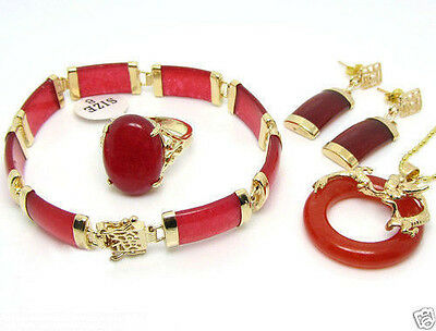 Red jade necklace pendant earrings bracelet Ring Lucky Sets