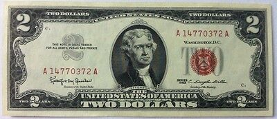 Series 1963 $2 Two Dollar Bill Red Seal United States Note CRISP UNCIRCULATED