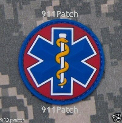 EMT Star of Life EMS Rescue Paramedic Medic Aesculapius Hook PVC Patch - Red