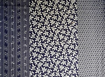 Fabric100% cotton,navy white,quilting,apparel,home decor,4 diff patterns lot 017