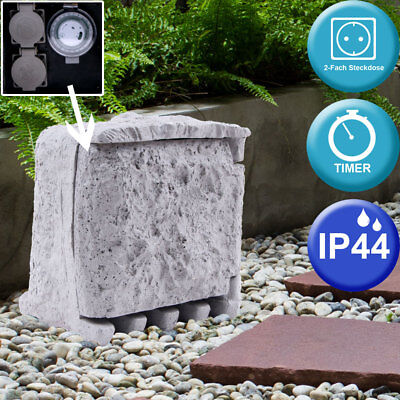 2-Way Splitter stone wall outlet Outside Garden Power Distribution 5m cable IP44