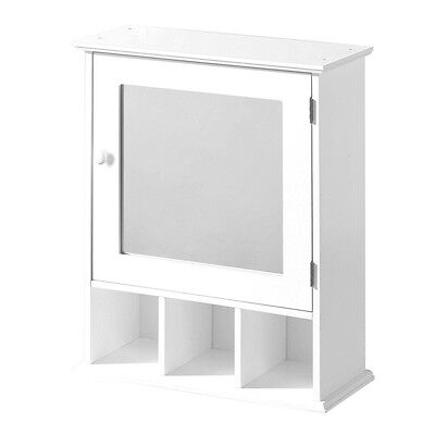 Bathroom Wall Mounted Cabinet White Wood 3 Storage Compartments With Mirror Door