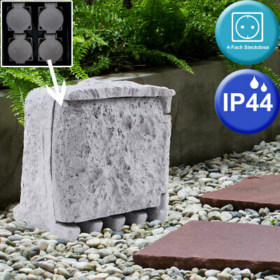 4-way power strip outdoor stone look IP44 5m power cable gray modern 200x200mm