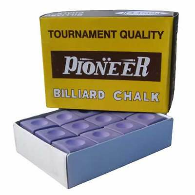 Pioneer Snooker Pool Billiards Cue Chalk Purple Tournament Quality 12 Pack