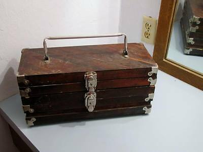 Antique ? Old Grand Dad Whiskey Wood Box Hinged Several Pieces Black Powder
