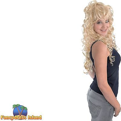 1980's ROCK CHICK BLONDE TOUSLED WIG Adults Ladies Womens Fancy Dress Costume