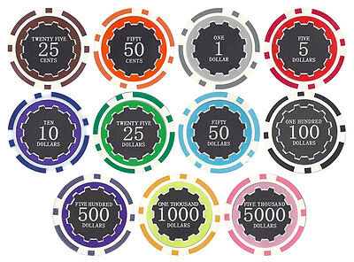 New Bulk Lot of 1000 Eclipse 14g Clay Poker Chips - Pick Denominations!