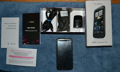 1GB HTC SENSATION 4G PG58100 IN BX BLK (T-MOBILE) W/CASE PROTECTOR ON SCREEN