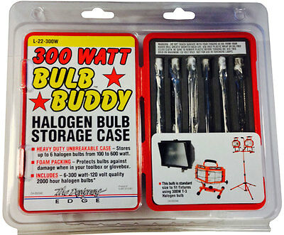 """Bulb Buddy"" - 300W T3 Long Life Halogen Bulbs (6 pack) with heavy duty case"