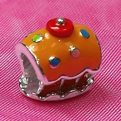 Genuine 925 Solid Sterling Silver Cup Cake Charm Bead European Bracelet Fit
