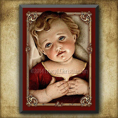 Infant Jesus Wood Icon/Plaque & Holy Card GIFT SET Catholic Art