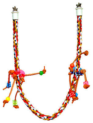 SMALL ROPE CHARM PERCH BIRD TOY parrot cage toys cages cockatiel conure caique