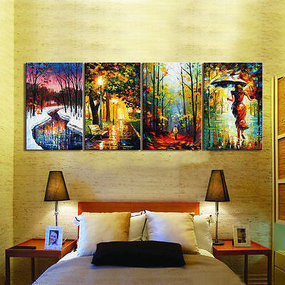 4 Piece Large Modern Abstract Art Oil Painting On Canvas (no framed)