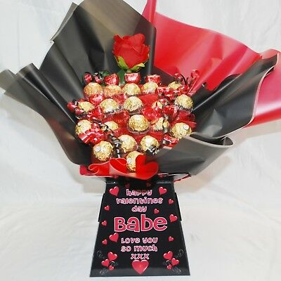 Personalised Valentines Ferrero Rocher Chocolate Sweet Bouquet Hamper