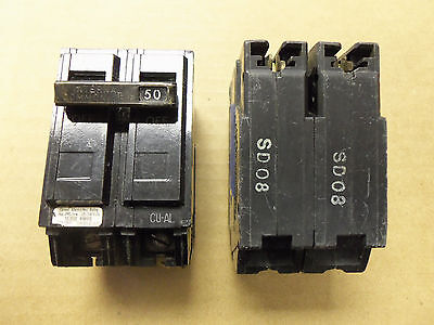 GE THQL THQL2150 2 pole 50 amp circuit breaker OLD STYLE CHIPPED