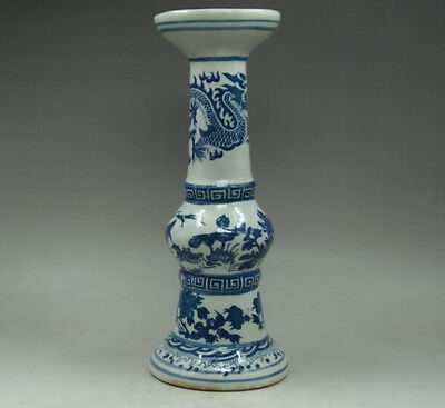 9.8 inch Chinese blue and white porcelain vase painting dragon candlestick Crane