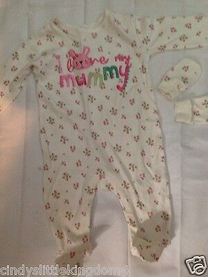 George I love Mummy baby girls floral sleepsuit babygrow outfit and mitts