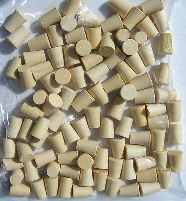 White Rubber Stoppers - Laboratory Stoppers - Tapered Plugs- Size 0 lot of 100
