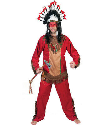 Costume Indiano Squaw Rosso Tg 48/50-52/54-56/58