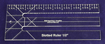 """10""""  Slotted-Ruler - 1/2"""" Slots - Acrylic ~1/4"""" thick. Quilting/Sewing"""