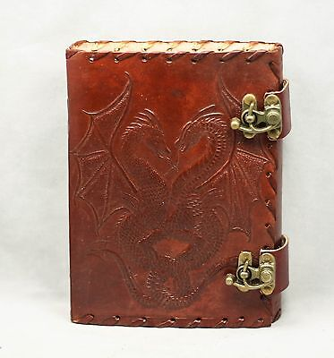 Double Dragon Double Lock Handmade Leather Journal Blank Book Diary Antique 5x7