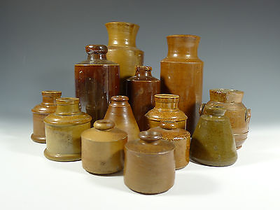 Antique Stoneware Collection of Bottles and Inkwells Primitive