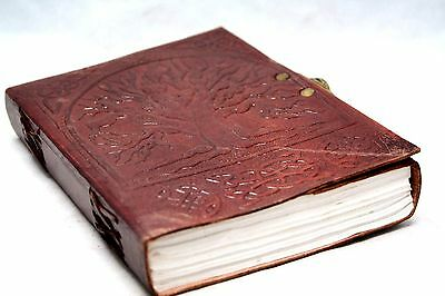 Tree Of Life Handmade Leather Journal Antique Style Blank Book Of Shadows Wicca