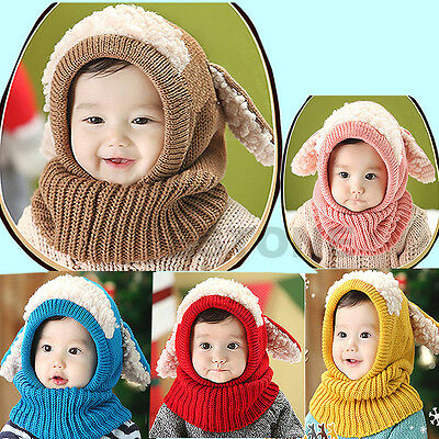 Winter Toddler Kids Girls Boy Coif Hood Scarf Kintted Woolen Warm Scarves Caps