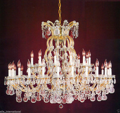 Large Pure Crystal Glass Brass Chandelier  New 36 Light Free shipping