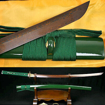 Japanese Samurai Sword Katana Black&Red Folded Steel Full Tang sharp Blade #1701
