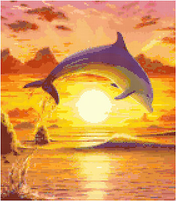 Cross Stitch Chart Pattern Dolphin Sunset Needlework Picture Design Craft