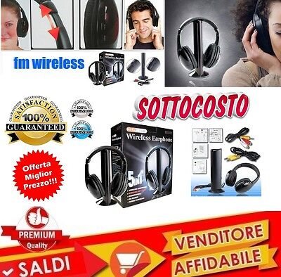 Cuffie Stereo Wireless 5 IN 1 Senza Fili WIFI Cuffia per Pc Tv Mp3 con MICROFONO