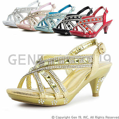 New Youth Girls Pageant Wedding Ball Party Heels 86(Youth 9 10 11 12 13 1 2 3 4)
