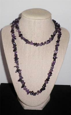 Amethyst Necklace Lavender Purple Chunky Beaded Gemstone Nugget Strand New !!