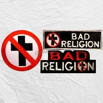 Set Bad Religion Embroidered Patches Word Cross Logo Rock Punk Band Greg Graffin