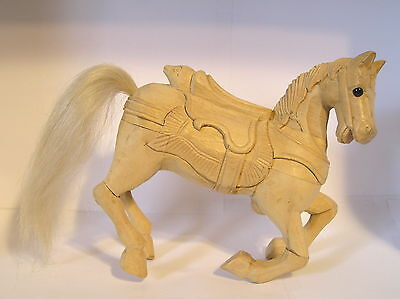 """Beautiful Unique Hand Carved Wooden Stallion Kneeling Statue 6"""" Tall by 7"""" Long"""