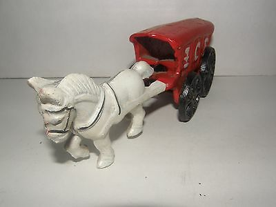 Vintage Cast Iron White Horse And Ice Wagon-All Wheels Turn-Nice Collectible