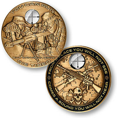 "Sniper ""You Can Run, But You Will Only Die Tired"" Challenge Coin"