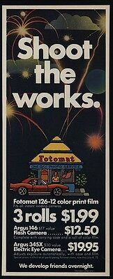 1972 FOTOMAT One-Day Film Processing Parking Lot Drive-Up Kiosk VINTAGE AD