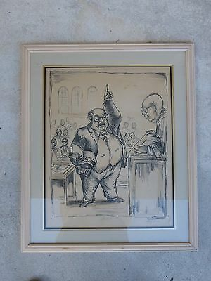 Large Satirical Etching Or Drawing Of A Lawyer Entitled Summation By Meyer