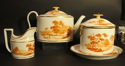 Mid-19th C. English 4-Piece Hand-Painted Coffee/Tea Set  c. 1840  antique cup