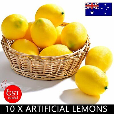 10X Artificial Yellow Lemon Lemons Fake Fruit Home Party Wedding Bar Decoration